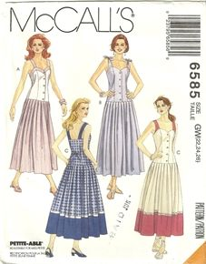 McCalls 6585 Vintage Tie Knot Shoulder Strap Drop Waist Dress Sewing Pattern Womens Plus