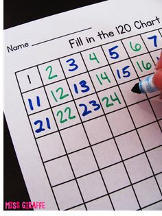 Awesome hundreds chart game - Give partners each a 120 chart and have them RACE to fill it up by writing a number and handing it back and forth.. Best game ever!! This post has a million great number sense games for kindergarten and 1st grade!
