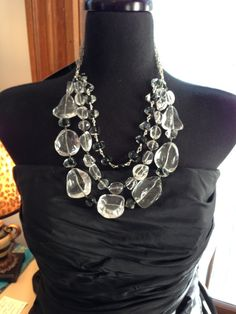 The Ice Queen - Statement necklace of giant rock crystal and blown glass beads on sterling silver - Handmade and OOAK