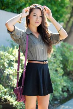 Black High Waisted Skater Skirt & striped long-sleeve crop top