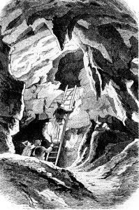 One of the many German folk legends has it that friendly little earth men and women living in caves come out at night to help humans.  www.gorara.com  Mystisch geht es zu in der Erdmannshöhle bei Hasel. Holzstich um 1860 von Karl Harveng (PD), via Wikimedia Commons.