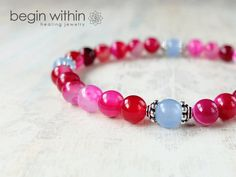 Self Love Gemstone Bracelet / Pink Agate Crystal Healing Lightworker Jewelry by Begin Within Jewelry