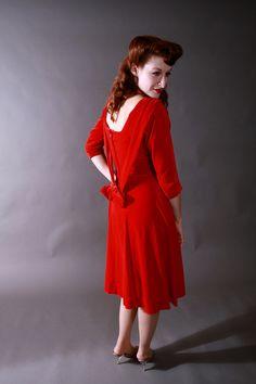 FabGabs Vintage 1950s Dress - Red Velvet