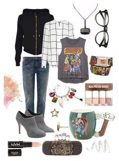 """Back to School: Marvel"" by musethisway ❤ liked on Polyvore featuring Current/Elliott, Vince Camuto, H&M, Versus, Warehouse, Alexander McQueen, Forever 21, Marvel Comics, Cynthia Rowley and Marc by Marc Jacobs"