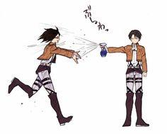 shingeki no kyojin, attack on titan, snk, levi, zoë hange Ereri, Levihan, Hanji And Levi, Armin, Mikasa, Kuroko, Attack On Titan Meme, Titans Anime, Captain Levi