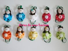 Anjinhos de Fuxicos Coloridos by Artes de uma Larissa, via Flickr.  Use for ideas for YoYo dolls!   #YoYo  #SuffolkPuffs