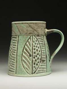 Dyann Myers Carved Porcelain Mug at MudFire Gallery