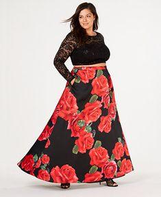 12654cfeb5c2 B Darlin Trendy Plus Size 2-Pc. Floral-Print Gown - Trendy Plus Sizes -  Plus Sizes - Macy's