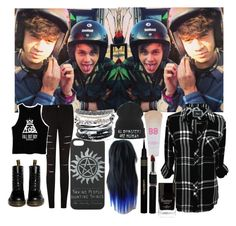 """""""Hanging out with my boyfriend (Calum Hood) and best friend (Michael Clifford)"""" by harrystyles13wife ❤ liked on Polyvore featuring Rails, Dr. Martens, Napoleon Perdis, Maybelline, Butter London and Domo Beads"""