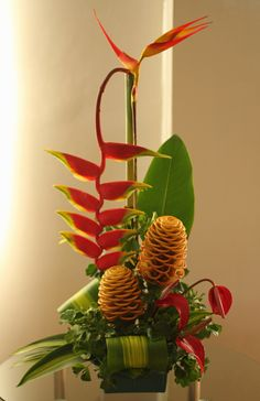 Another of my vertical tropical flower arrangement.