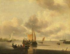 Jan van de Cappelle (Amsterdam , The mouth of an estuary (the Brill? Pieter Bruegel, Amsterdam, Maritime Museum, Dutch Painters, Fine Art Auctions, Rembrandt, Hanging Art, Large Art, Oil On Canvas