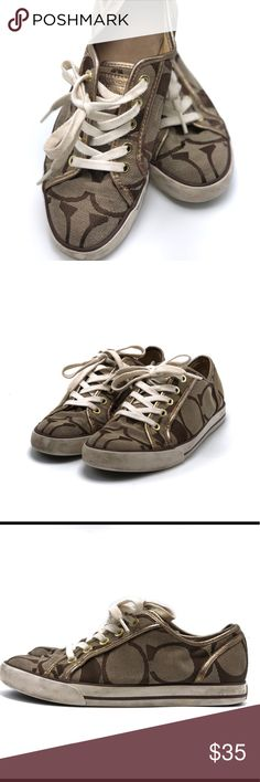 Coach signature sneakers Coach sneakers with signature print canvas. Pre-loved with some scuffs from normal wear- size 7 Coach Shoes Sneakers