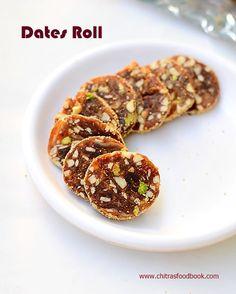 Dates Nuts Roll Recipe/Khajoor Katri-Easy Diwali Sweets Recipe | Chitra's Food Book