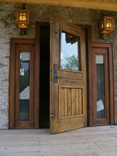 Love this solid wood door - especially for a log home! There are lots more great antique wood doors here too.