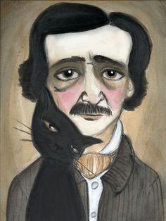 """Edgar Allan Poe and the Black Cat"", Poe Literary Portrait, Literary Art Print by Debra Styer"