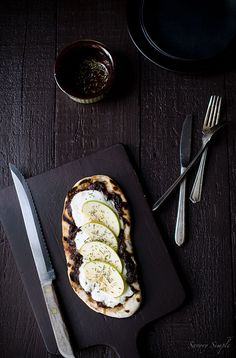 Grilled Flatbread with Port Onion Jam, Burrata Cheese and Apples - an amazing mix of textures and flavors!