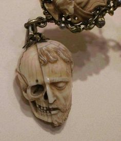 16th Century Example of a Memento Mori hung on a Rosary, Carved from Ivory.