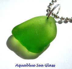 DRILLED Sea Glass  Lime Green  Small Sea Glass by aquablueseaglass, $9.99