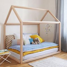 Searching for fun kids furniture for your toddler room? How about this wooden house bed frame? A minimal bed frame for kids that your kids will love! Boys room and girls room ideas on Evitas.com House Frame Bed, House Beds, Bed Frame, Childrens Beds, Childrens Room Decor, Kids Bed Design, Dreams Beds, Bed Styling, Kid Beds