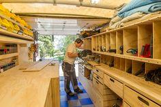 Woodshop on Wheels: Ron Paulk on the Design of His Mobile Woodshop, Part 1 - Core77 Workshop Design, Workshop Storage, Workshop Organization, Home Workshop, Garage Workshop, Work Trailer, Utility Trailer, Van Storage, Tool Storage