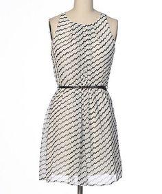 This brandon & ashley Black & White Zigzag Stripe Belted A-Line Dress by brandon & ashley is perfect! #zulilyfinds