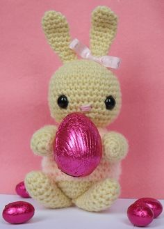 Adorable Crochet Easter Bunnies, Easter Egg and Ribbon Decorated
