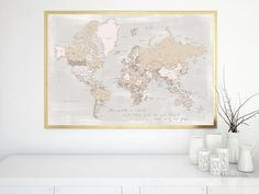 """The world is a book... world map print, world map with cities in rustic style, 36x24"""". World map print with capitals and main cities in distresed, grunge, neutral tones.  Quote: The world is a book and those who do not travel read only one page.  Travel lover idea: you can use a frame that is backed with foam core board or corkboard for making a pushpin travel pinboard. Display the places you've visited or want to visit using pushpins or needle pushpins."""