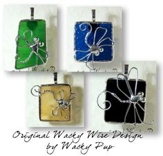 Your Choice Dragonfly Stained Glass Necklace Soldered Pendant or Charm - Artisan Wacky Wire Design. $21.99, via Etsy.