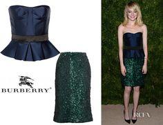 Who: Emma Stone wearing a Burberry Prorsum peplum top and sequin skirt Shop: Burberry Prorsum top Net-A-Porter US $1,295 Net-A-Porter International £795 /