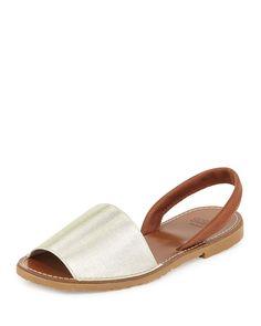 André Assous Menorca Elastic Slingback Sandal, Platino