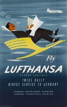 LUFTHANSA (Germany) Vintage Travel Poster