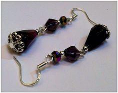 Dark violet tear drop crystal dangle earrings with hearts. on Etsy, $15.50