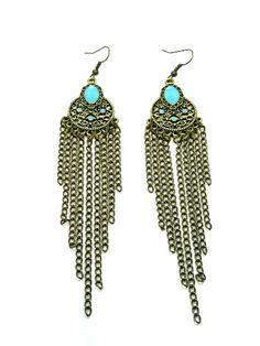 Bronskleurige oorbellen met groenblauwe lak (hanger)