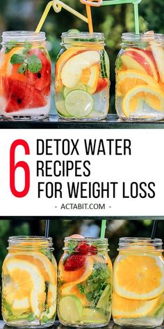 Try these 6 easy detox water recipes to lose weight. They will help you boost metabolism and burn fat. Drinking enough water is key to good health, weight loss and clear skin: http://www.actabit.com/detox-water-recipes/