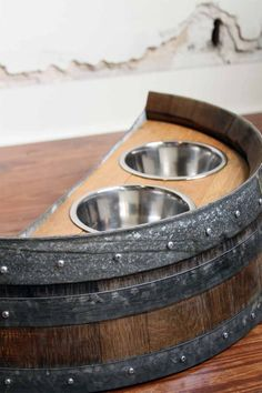 Authentic Reclaimed Napa Valley Wine Barrel Dog Feeder - so you can think of your trip to Calistoga every time you feed the pup! Whiskey Barrel Furniture, Bourbon And Boots, Barrel Projects, Diy Dog Bed, Dog Feeder, Bourbon Barrel, Dog Bowls, Farmhouse Decor, Farmhouse Ideas