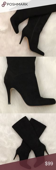 Black Size 9.5 Inc International Concepts Womens Fawne Leather Round Toe Knee