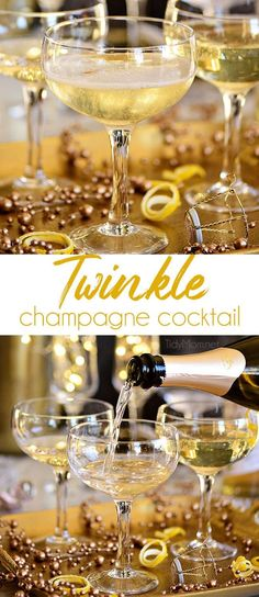 No one will be able to resist this softly sweet and smooth Twinkle champagne cocktail, so be ready to be mixing up this cocktail all night long! A great way to add a little sparkle to your celebrations. New Years Eve Drinks, New Year's Drinks, New Year's Eve Cocktails, New Years Eve Food, Holiday Drinks, Alcoholic Drinks, Christmas Drinks, Festive Cocktails, Christmas Christmas