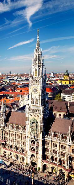 Beautiful Aerial view of Munchen, Germany: Marienplatz, New Town Hall and Frauenkirche