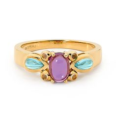 9ct gold Amethyst ring with Blue Topaz & Rose Quarts - Designed in our Highlands studio by our creative team this ring feature a candy coloured gemstones, set in 9 carat yellow gold. With a seamless marriage of vintage aesthetic and exquisite modern design.  Gemstone: 1.6ct