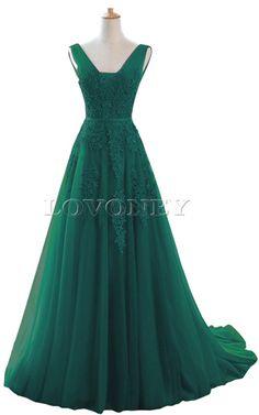 Floor Length Sleeveless Tulle Beading Dark Green Sequined A Line Long Prom Dress
