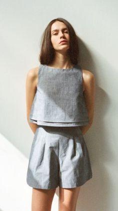 Grey matching crop top and shorts