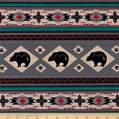Tucson Bear Stripe Gray from @fabricdotcom  Designed for Elizabeth's Studio, this southwestern inspired cotton print fabric is perfect for quilting, apparel, crafts, and home decor items. Stripes run perpendicular to the selvage. Colors include antique, brown, black and turquoise.