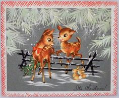 #574 50s Sweet Deer Over the Fence, Vintage Christmas Card-Greeting