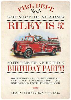 Firetruck Invitation - Boys Birthday Party - DIY PRINTABLE FILE. $17.00, via Etsy.