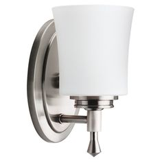 @Overstock - Brighten your space with this transitional wall sconce. A brushed nickel finish and one-light design highlight this light fixture.http://www.overstock.com/Home-Garden/Nickel-Transitional-1-light-Wall-Sconce/7879788/product.html?CID=214117 $42.99