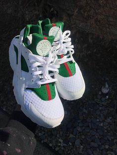 Gucci Huarache Customized Triple White Custom Gucci Inspired