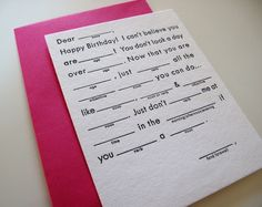 Birthday Party Mad Lib By ATPCreativeDesign On Etsy