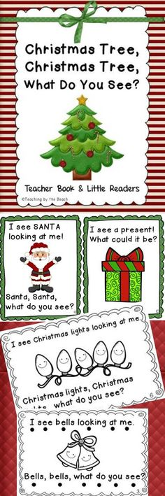 "This PDF file has a class/teacher book (8.5 X 11) in color and little readers of ""Christmas Tree, Christmas Tree, What Do You See?"". The clipart for this book is just adorable and your students will love it! (Just like the ""Candy Corn, Candy Corn"" book and the ""Turkey, Turkey"" book :) It has two little black and white readers for students. One has tracking dots and one does not."