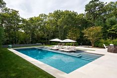 Hamptons pool design: modern, clean styles are in When planning a new pool, there are so many things to consider. To make sense of all the latest features in pool design, we chatted with Greg Darvin of Pristine Pools in East Hampton. Backyard Pool Landscaping, Backyard Pool Designs, Small Backyard Pools, Outdoor Pool, Landscaping Ideas, Pool Pavers, Concrete Pool, Patio Ideas, Backyard Ideas