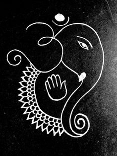 Ganesha with om Rangoli Rangoli Borders, Rangoli Border Designs, Rangoli Patterns, Rangoli Ideas, Rangoli Designs With Dots, Rangoli Designs Latest, Rangoli Designs Diwali, Rangoli Designs Images, Beautiful Rangoli Designs
